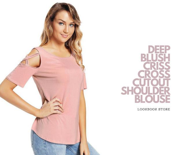 Lookbook Store Deep Blush Crisscross Cutout Shoulder Blouse