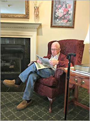 May 17, 2019 After breakfast reading in a beautiful sitting room.