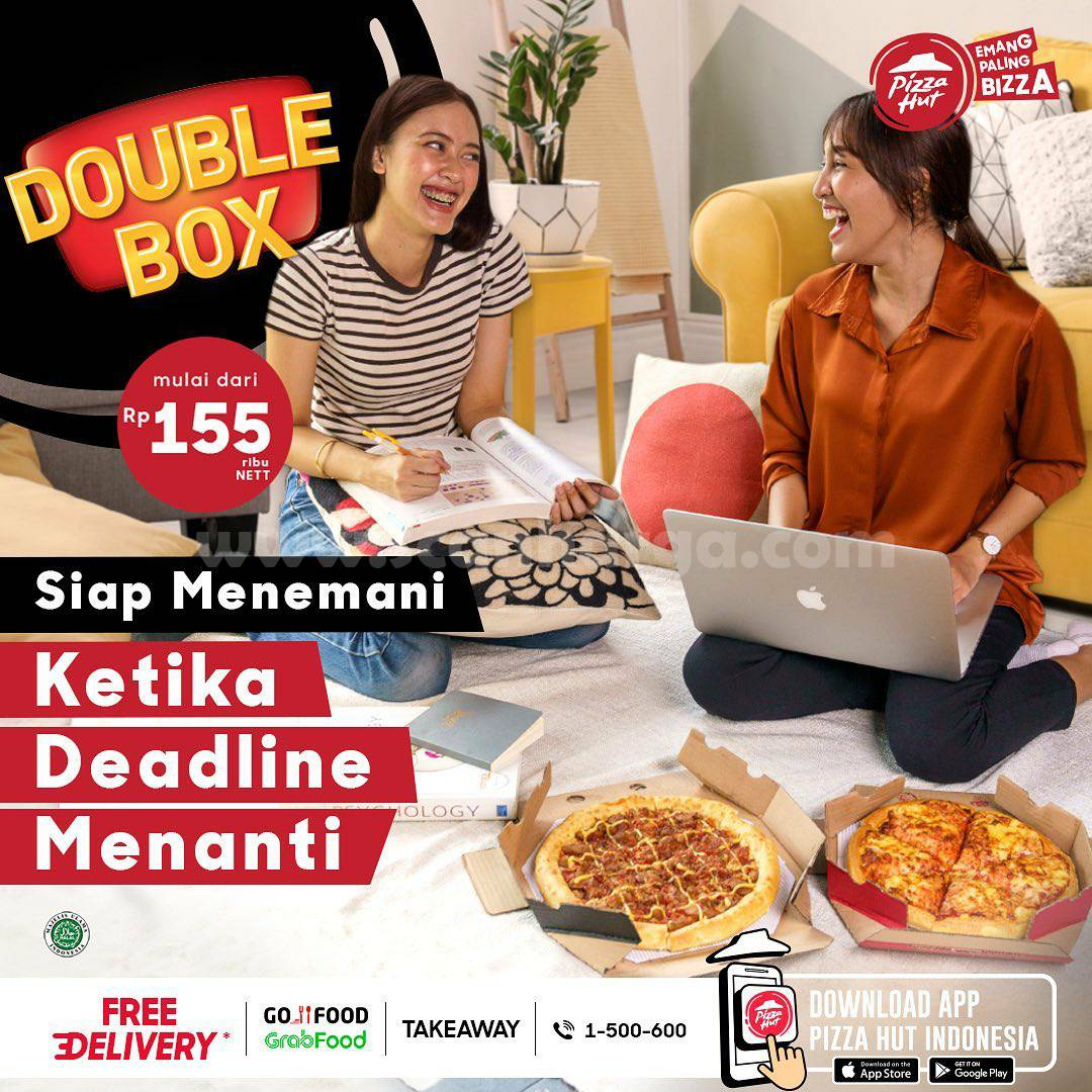 Promo PIZZA HUT DOUBLE BOX - 2 Paket Pizza mulai Rp. 155.000