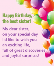 Happy Birthday Messages for Sister Images with greeting card
