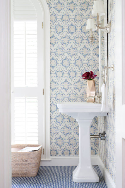 Bathroom : White and Blue Powder Room with Blue Penny Tile Floor