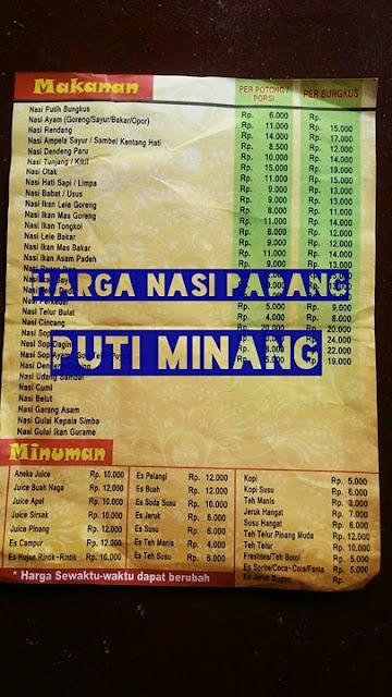 Daftar Harga Nasi Padang Puti Minang