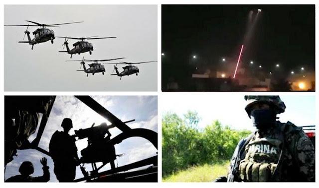 """VÍDEO; Llegan a San Blas helicópteros artillados de La Marina como los mimos que abatieron a """"El H2"""""""