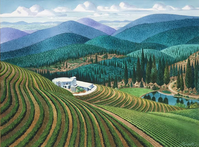 Fellowship of Friends Renaissance Vineyard & Winery painting by member and Nut Tree art director Don Birrell