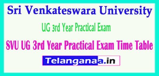 SVU Sri Venkateswara University UG 3rd Year Practical Exam Time Table 2018