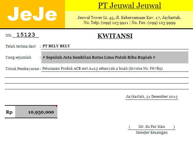 Download Kwitansi Pembayaran Format Excel