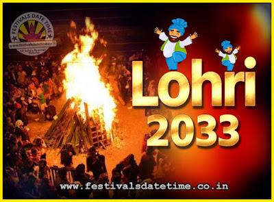 2033 Lohri Festival Date & Time, 2033 Lohri Calendar