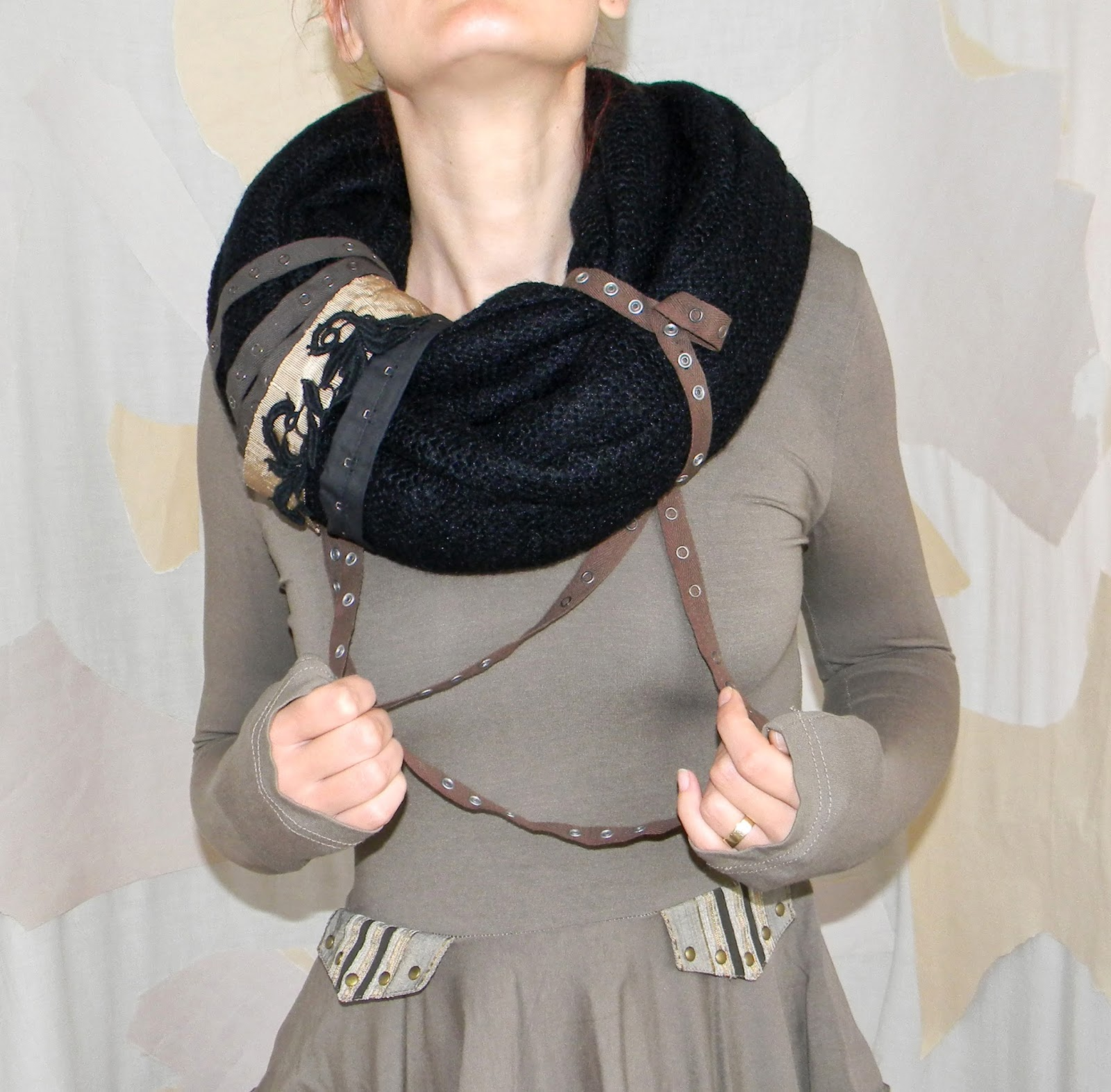 Infinity Black Knit Neck Warmer Circle Knit Fashion Scarf with Military Chic Applique