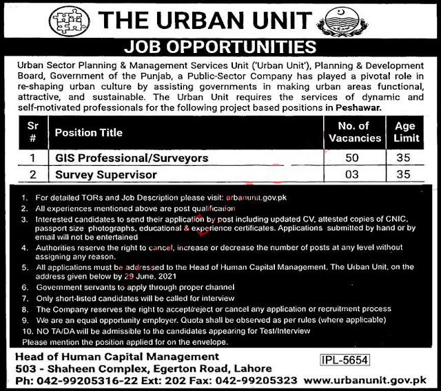 The Urban Unit Punjab Jobs Latest Advertisement