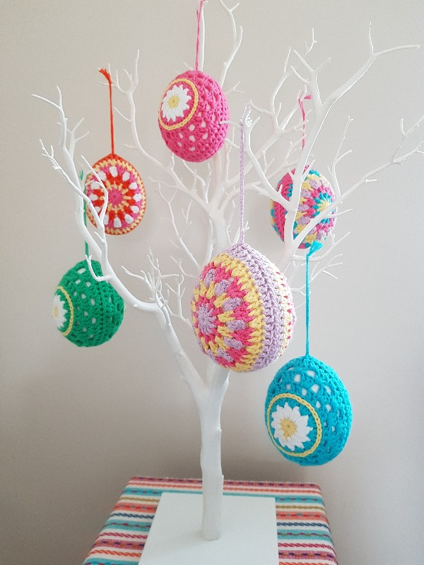 Easter tree with cute crochet eggs