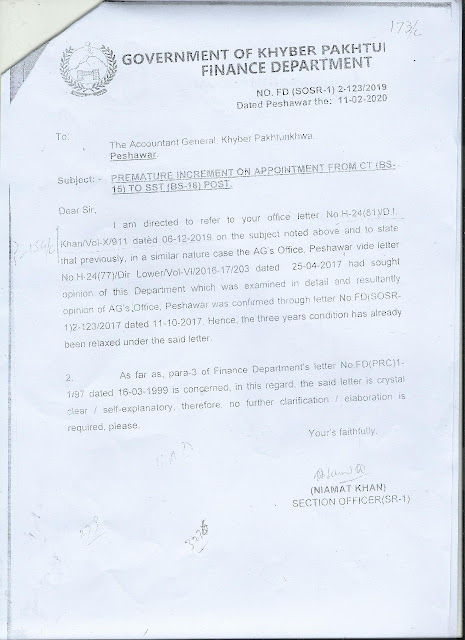 Premature increment on promotion from ct to sst in kpk