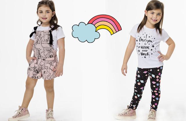Monos, calzas y remeras primavera verano 2018. Moda infantil primavera verano 2018.