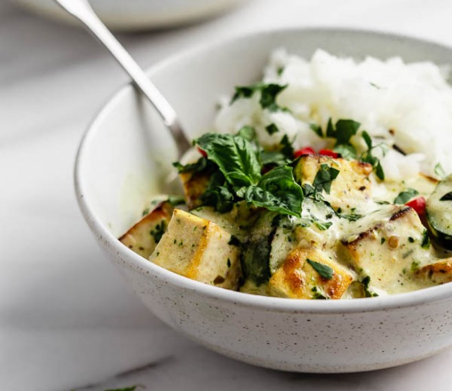 Thai Green Curry Tofu #vegan #dinner