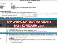Download RPP Daring 1 Lembar Matematika, Bab 1 Kelas 6 Semester 1