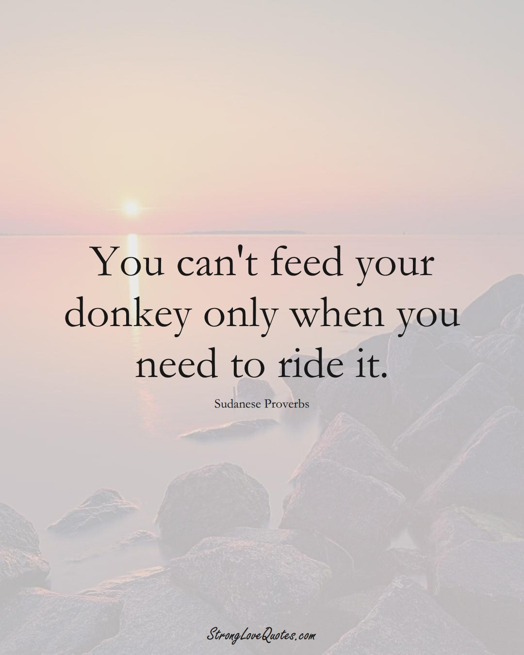 You can't feed your donkey only when you need to ride it. (Sudanese Sayings);  #AfricanSayings