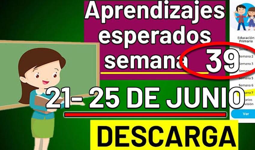 🧠🎒 DESCARGA los aprendizajes esperados de la semana 39 ( 21 - 25 JUNIO 2021)
