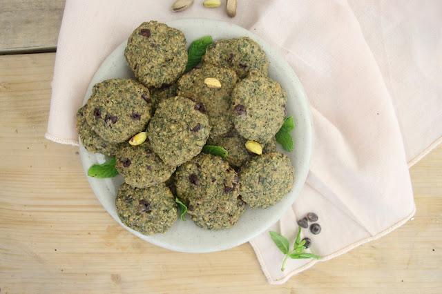 Biscuits menthe-pistache-chocolat (vegan)