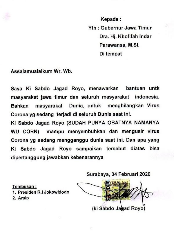 Ngaku Temukan Obat Virus Corona, Ki Sabdo Jagad Royo Surati Gubernur - Presiden