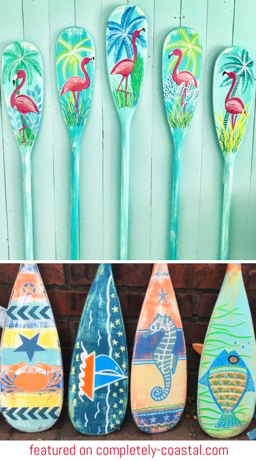 Painted Art Oars Wall Decor