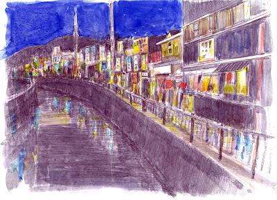飲食街の夜景 折尾駅東口 堀川町