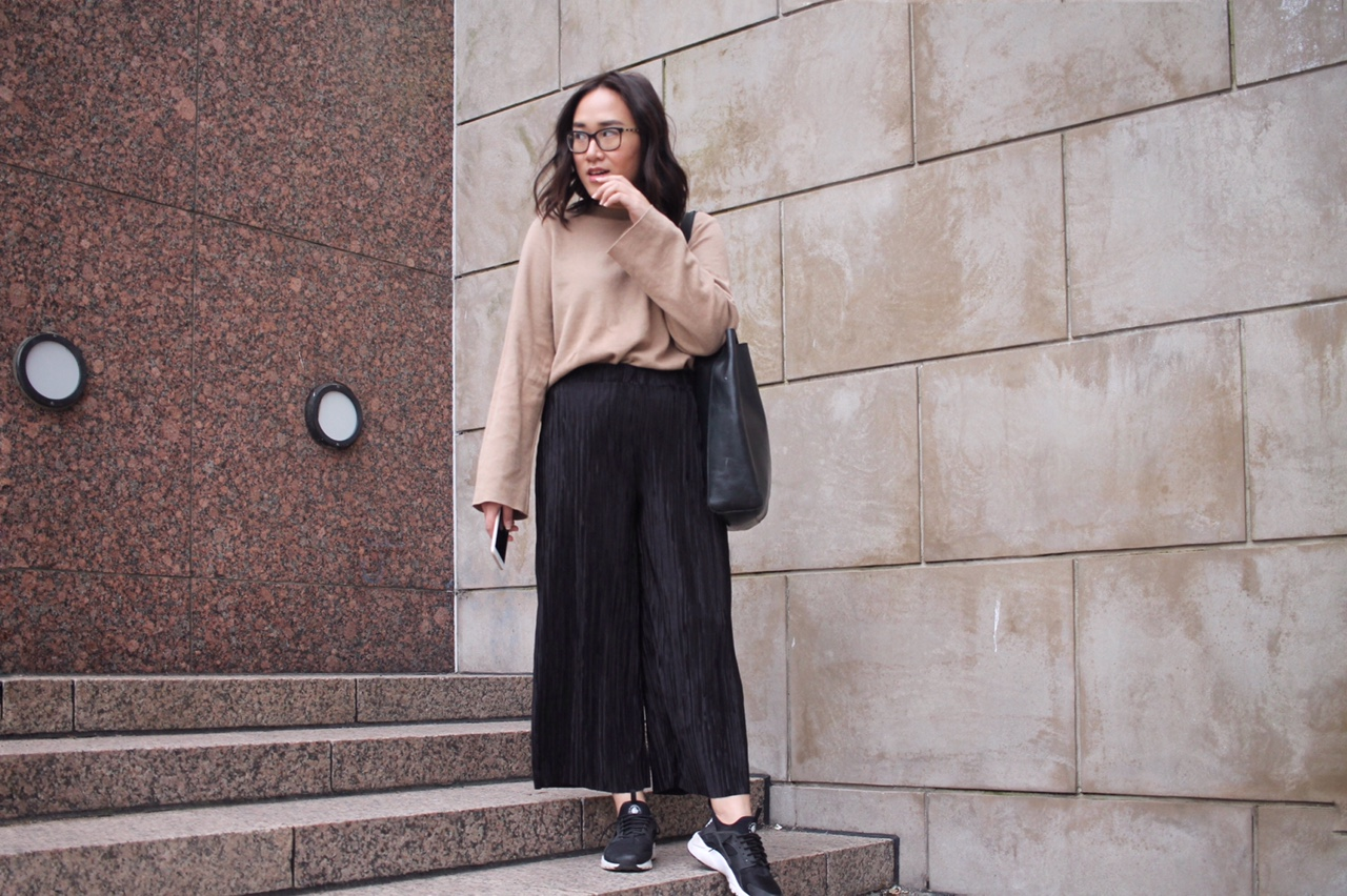zara pleated culottes