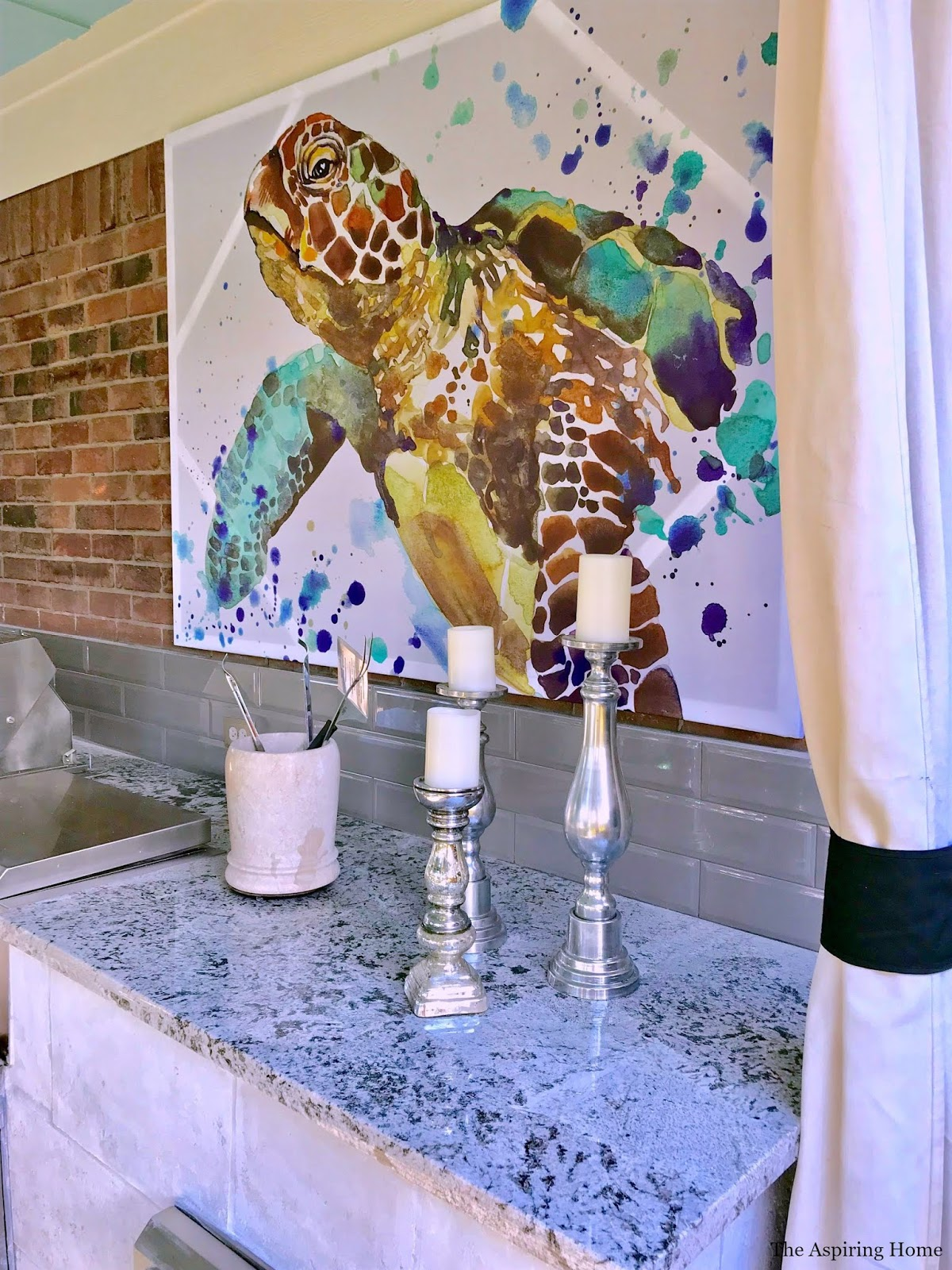 Create large art from shower curtain