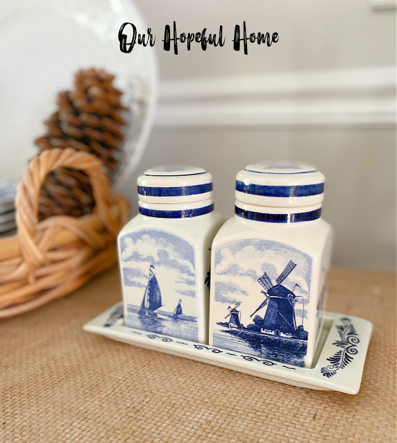blue white canisters sailboat windmill nesting tray