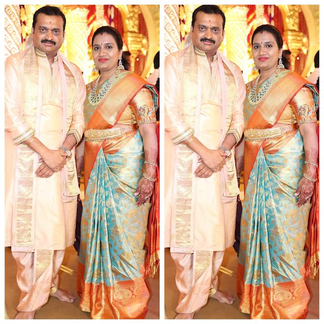 Bandla Ganesh wife Pastel Color Silk Saree