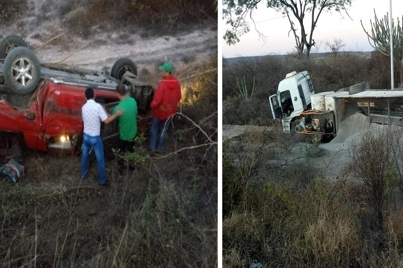 Colisão entre caminhonete e carreta é registrado na BA-262 entre os municípios de Aracatu a Brumado