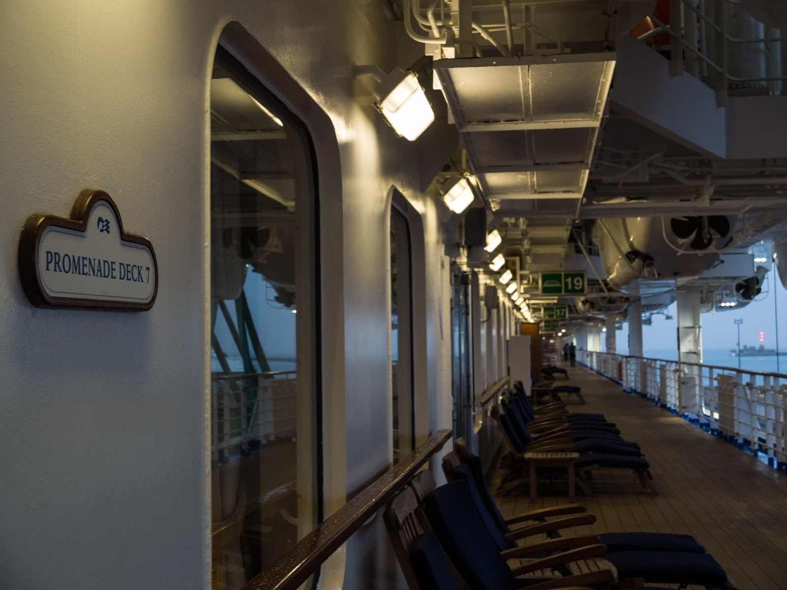 Empty lounge chairs during an early morning on the Sapphire Princess' Promenade Deck 7.