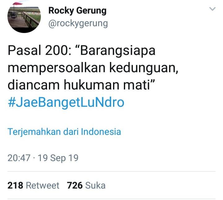 Revisi KUHP Pasal Hina Presiden Hukum Mati, Rocky Gerung Lontarkan Kritik Keras