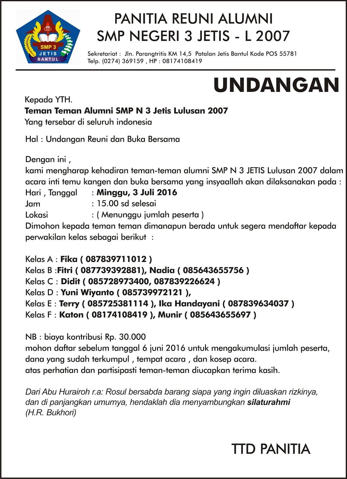 Selamat Datang Alumni Smp N 3 Jetis Bantul Yogyakarta Undangan