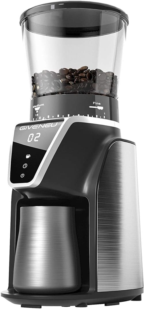 GIVENEU Electric Conical Burr Coffee Bean Grinder