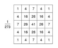 5 x 5 Gaussian Kernel