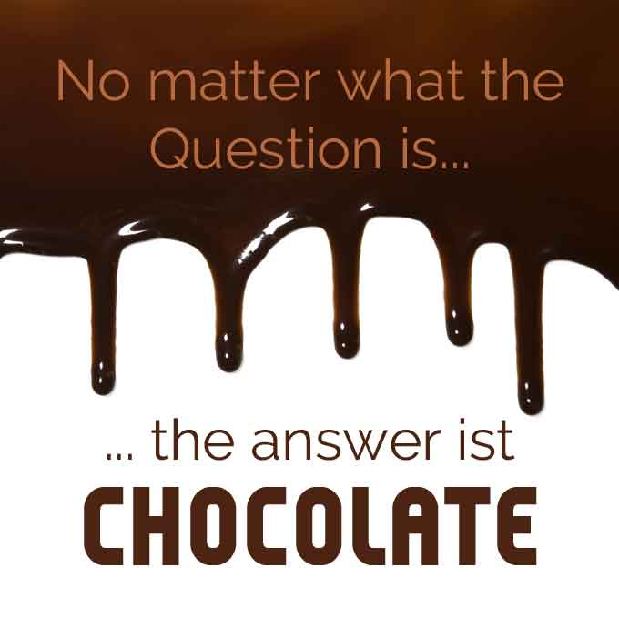 Schokoladenspruch No matter what the Question ist - the answer ist chocolate