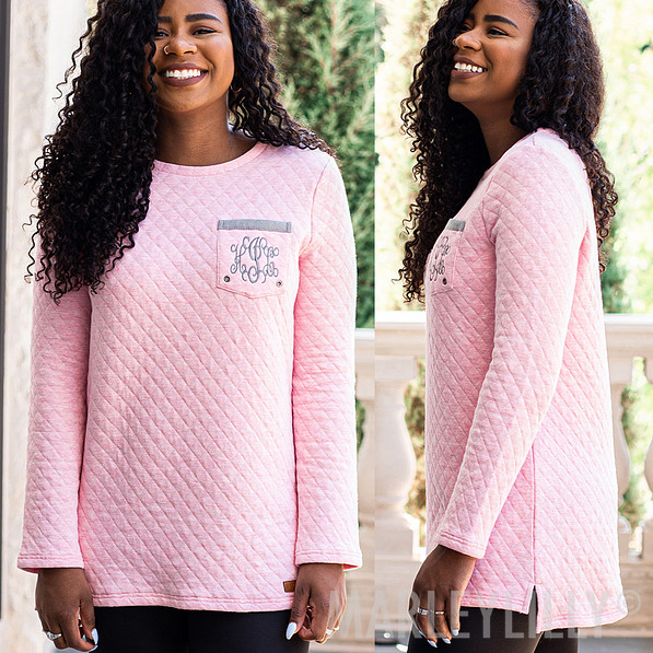 pink quilted crewneck sweater