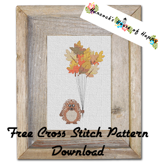 Free Fall Leaf Hedgehog Balloon Cross Stitch Pattern