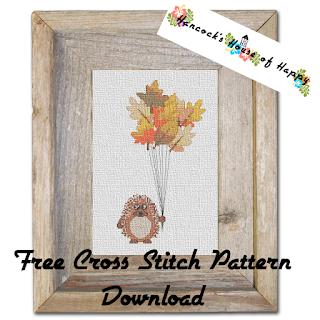 Free Fall Leaf Hedgehog Balloon Cross Stitch Pattern