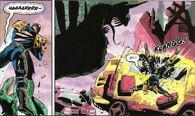 Coldblood throwing Judge Dredd into a ruined car.