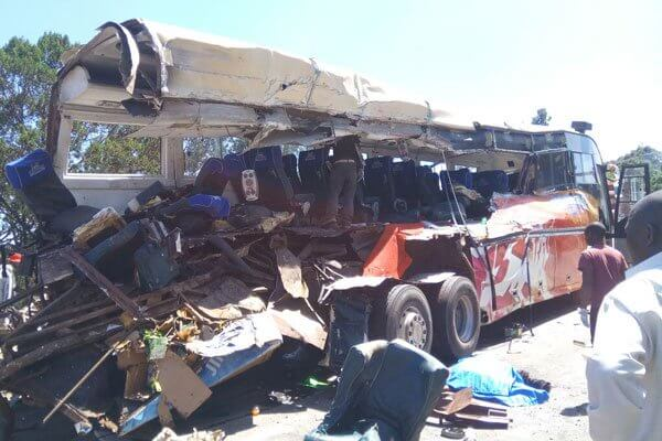 Wreckage of Modern Coast bus that was involved in the crash a the Sachangwan blackspot. The bus was headed to Kampala from Nairobi. PHOTO   MAGDALENE WANJA   NMG