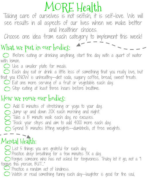 free printable worksheet with easy ideas to be healthier