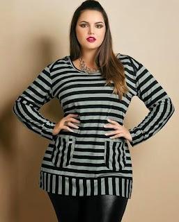 2 patrones de blusa y vestido con diseño a rayas