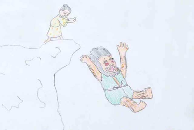 woman, cliff, man falling, demon