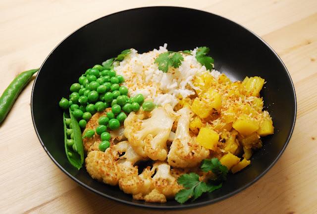 Chou-fleur rôti et curry d'ananas