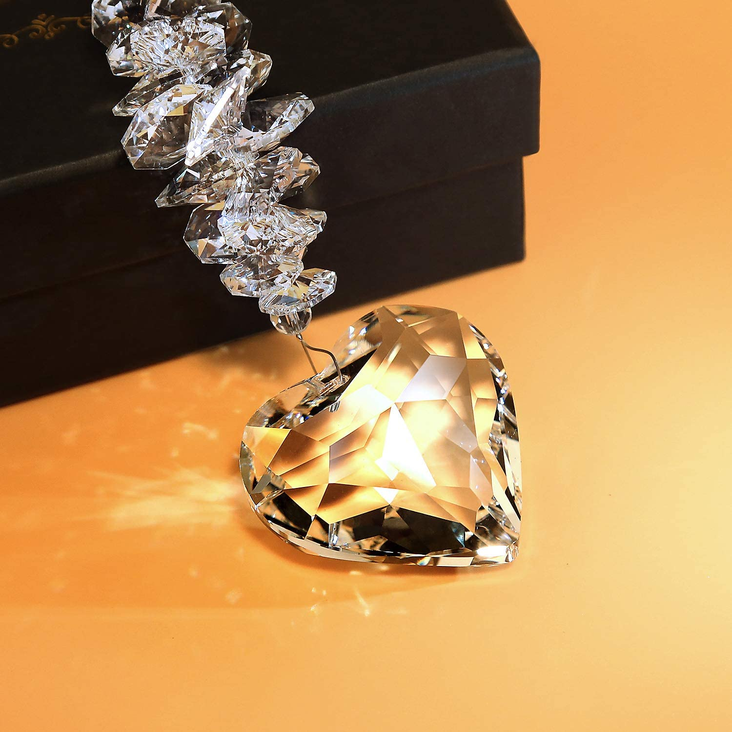 Clear Glass Heart Pendant Crystal Ball Prism Decor