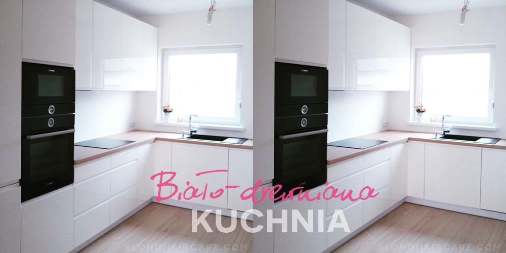 bia a kuchnia z drewnianym blatem i czarnymi sprz tami agd piel gnacja w os w blog. Black Bedroom Furniture Sets. Home Design Ideas