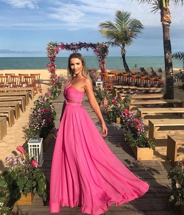 vestido rosa pink para madrinha de casamento na praia