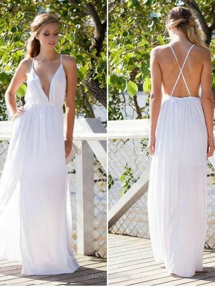 Vestido branco longo decote