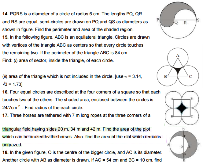 Area of shaded region  Questions