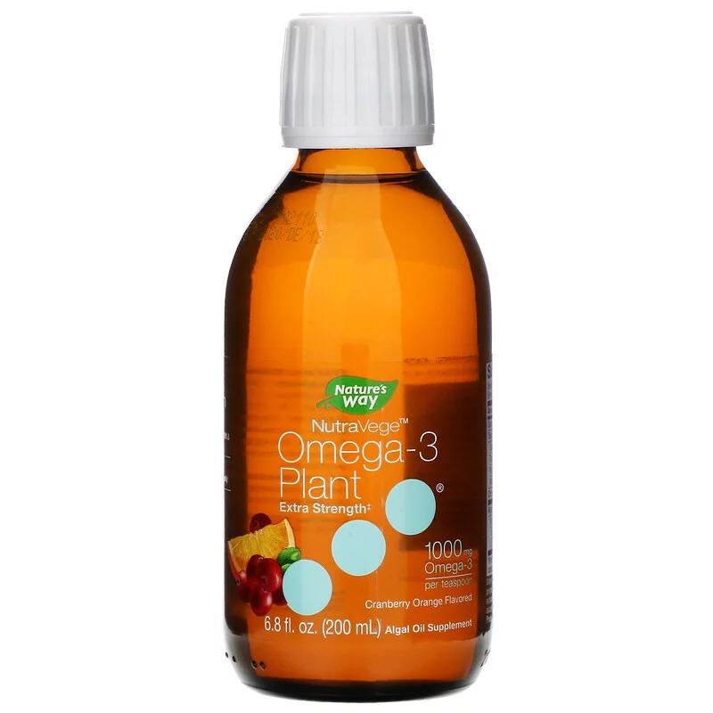 Ascenta, NutraVege, Омега-3, экстрасила, вкус клюквы и апельсина, 1000 мг, 6,8 ж. унц. (200 мл)